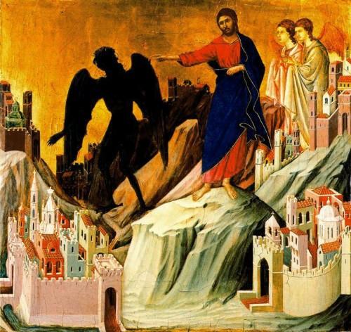 tentaciones cristo duccio e1352498593123 Imágenes de Jesús tentado por Satanás