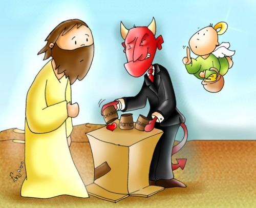 tentaciones de satanas a Jesus e1352498638855 Imágenes de Jesús tentado por Satanás