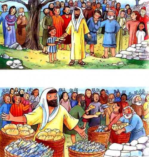 Jesus feeds the multitude1 e1354767440718 Imágenes de Jesús alimentando a cinco mil