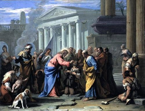 CURA UN CIEGO. SEBASTIANO RICCI. S. XVII XVIII Jesús curando al ciego