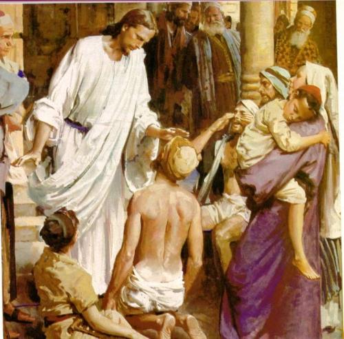 Jesús cura a un ciego de nacimiento Jesús curando al ciego