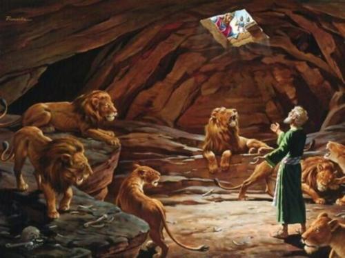 daniel en el foso de los leones