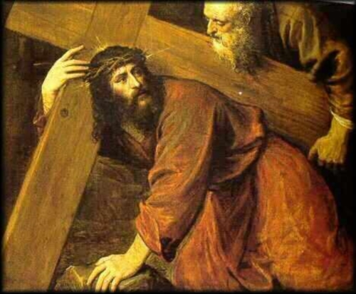 Quinta Estacion Simon el Cirineo ayuda a Jesus a cargar al Cruz