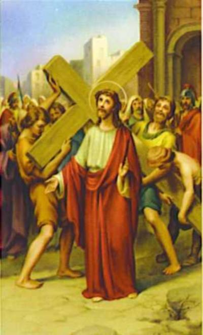 Segunda Estación Jesús carga la Cruz