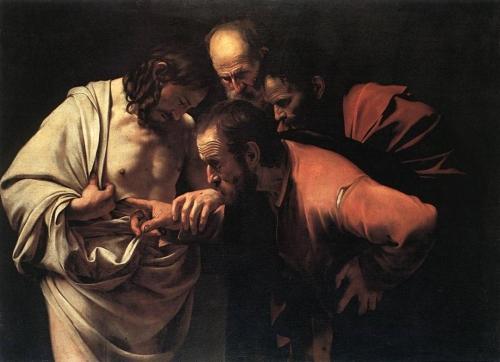 Santo Tomás introduce la mano en el costado de Jesús  Caravaggio 1601 Imágenes de Santo Tomas El Apóstol