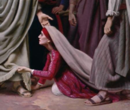 mujer tocando el manto