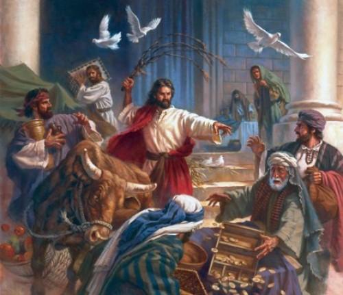 Imágenes de Jesús expulsando a los mercaderes del tempo