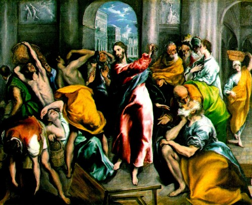 Jesus en el templo y los mercaderes