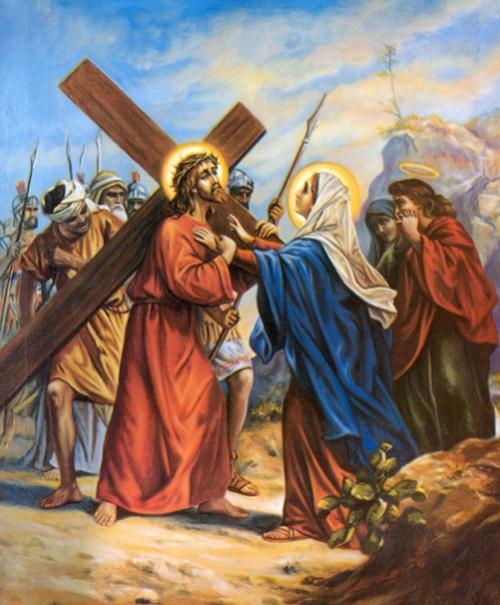 Cuarta Estacion Jesus se encuentra con su madre Maria