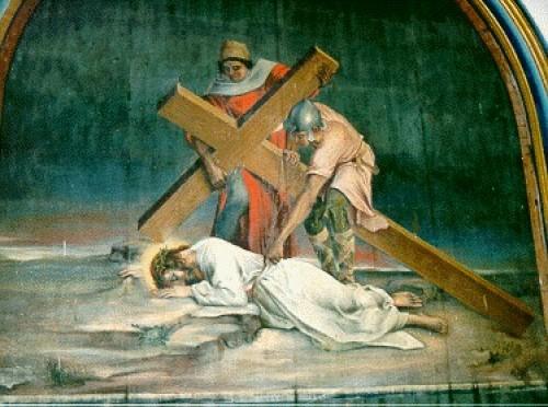 tercera estacion Jesus Cae por Primera Vez